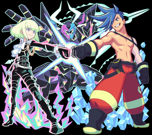 Tags: Anime, Promare, Monster Strike, Lio Fotia, Galo Thymos, Bro Fist, Official Art