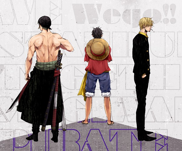 Tags: Anime, Pixiv Id 276107, ONE PIECE, Monkey D. Luffy, Roronoa Zoro, Sanji, Text Background, Pixiv, Fanart, Fanart From Pixiv, One Piece: Two Years Later, Monster Trio, Straw Hat Pirates