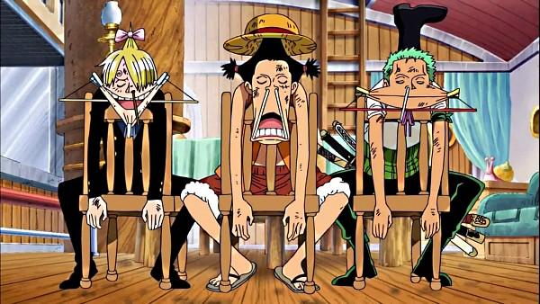Tags: Anime, Toei Animation, ONE PIECE, Monkey D. Luffy, Roronoa Zoro, Sanji, Unconscious, Screenshot, Official Art, Monster Trio, Straw Hat Pirates, The Eleven Supernovas