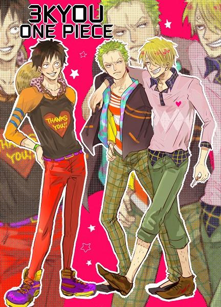 Tags: Anime, Pixiv Id 1849214, ONE PIECE, Roronoa Zoro, Sanji, Monkey D. Luffy, Text: Thank You, Red Pants, Capri Pants, Checkered Pants, Mobile Wallpaper, Fanart From Pixiv, Pixiv