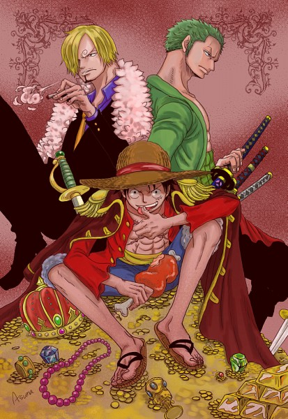 Tags: Anime, Pixiv Id 2453791, ONE PIECE, Roronoa Zoro, Sanji, Monkey D. Luffy, One Piece: Two Years Later, Pixiv, Mobile Wallpaper, Monster Trio