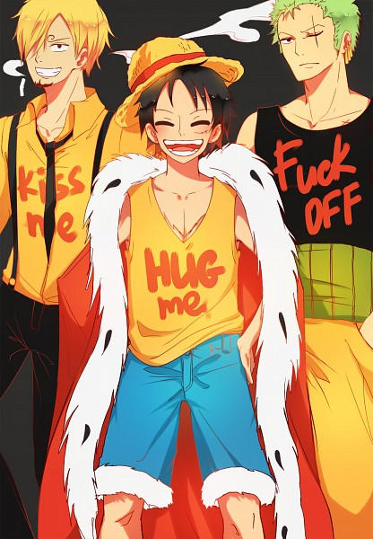 Tags: Anime, Kristallin-F, ONE PIECE, Monkey D. Luffy, Roronoa Zoro, Sanji, Swearing, Cigar, One Piece: Two Years Later, Mobile Wallpaper, Monster Trio