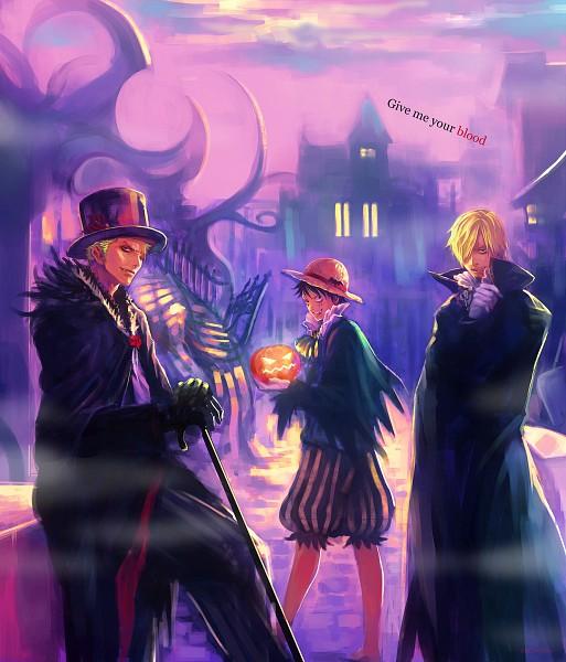 Tags: Anime, Tsuyomaru, ONE PIECE, Monkey D. Luffy, Roronoa Zoro, Sanji, Vampire Costume, Fanart, Fanart From Pixiv, One Piece: Two Years Later, Pixiv, Monster Trio, Straw Hat Pirates