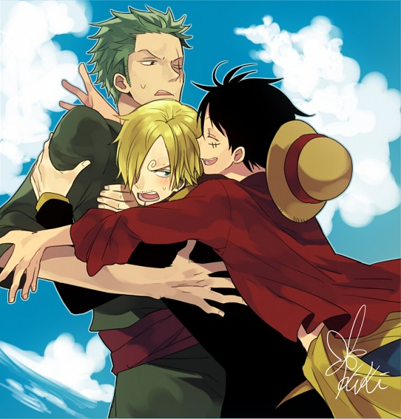 Tags: Anime, Hiyo Kiki, ONE PIECE, Monkey D. Luffy, Roronoa Zoro, Sanji, Group Hug, Fanart From Pixiv, Pixiv, Fanart, One Piece: Two Years Later, Monster Trio, Straw Hat Pirates