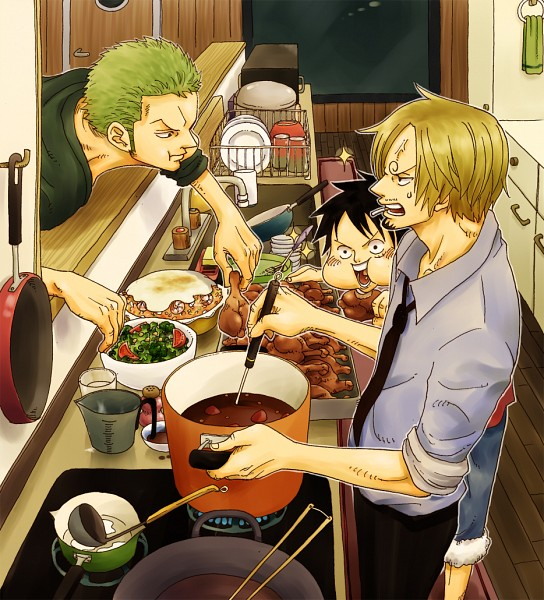 Tags: Anime, Pixiv Id 8083003, ONE PIECE, Monkey D. Luffy, Roronoa Zoro, Sanji, Kitchen, Pixiv, Fanart From Pixiv, Fanart, PNG Conversion, One Piece: Two Years Later, Monster Trio