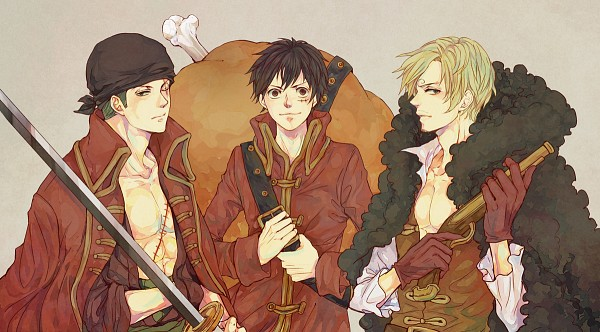 Tags: Anime, Pixiv Id 5484793, ONE PIECE, ONE PIECE FILM Z, Monkey D. Luffy, Roronoa Zoro, Sanji, Meat, Fanart From Pixiv, Pixiv, Facebook Cover, Fanart, PNG Conversion