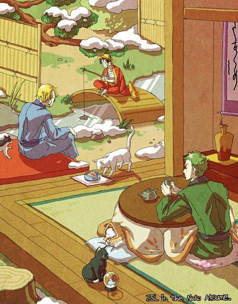 Tags: Anime, Pixiv Id 15388646, ONE PIECE, Neko Atsume, Monkey D. Luffy, Roronoa Zoro, Sanji, Fishing, Kotatsu, Fanart, Fanart From Pixiv, Pixiv, Monster Trio