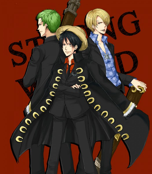 Tags: Anime, ONE PIECE, Strong World, Roronoa Zoro, Sanji, Monkey D. Luffy, Artist Request, Straw Hat Pirates, Monster Trio