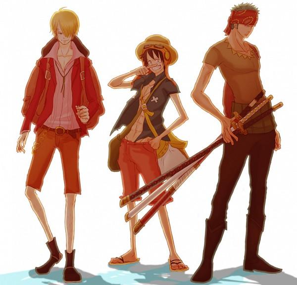 Tags: Anime, Pixiv Id 1308128, ONE PIECE, Strong World, Roronoa Zoro, Sanji, Monkey D. Luffy, Pixiv, Fanart, Fanart From Pixiv, Monster Trio, Straw Hat Pirates, The Eleven Supernovas