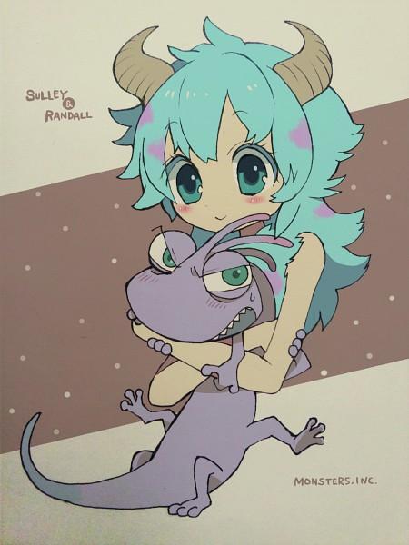 "Tags: Anime, Pixiv Id 950277, Monsters Inc., James P. ""Sulley"" Sullivan, Randall Boggs, Pixiv, Pixar, Fanart, Disney"