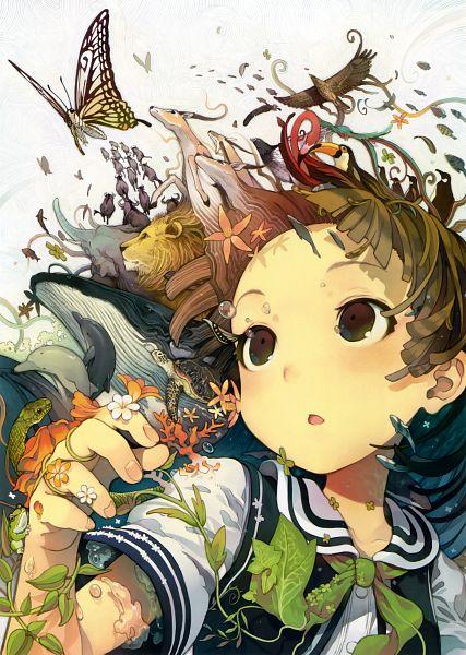 Tags: Anime, Morino Hon, Eshi 100-nin Ten 06, Original, Scan, Mobile Wallpaper