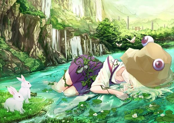 Tags: Anime, Cloudy.R, Touhou, Moriya Suwako, Lily Pads, Brown Hat, Purple Vest, Waterfall, Brown Headwear, Fanart, Pixiv, Fanart From Pixiv, Suwako Moriya