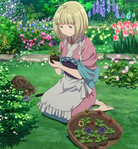 Tags: Anime, Ao no Exorcist, Moriyama Shiemi, Tulip, Salvia, Garden, Pansy, Gardening, Screenshot