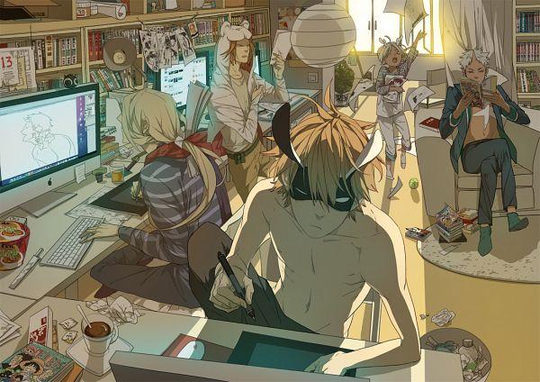 Tags: Anime, Oldxian, Mosspaca Advertising Department, Moss (Mosspaca Advertising Department), Old Xian, Shawl, Keyboard (Computer), Drawing (Action), Tablet, Ramen, Tennis Ball, Manga (Object), Pixiv