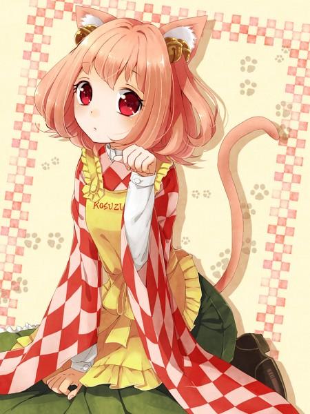 Tags: Anime, Nunucco, Touhou, Motoori Kosuzu, Beige Background, Checkered Shirt, Pixiv, Fanart, Fanart From Pixiv, Kosuzu Motoori
