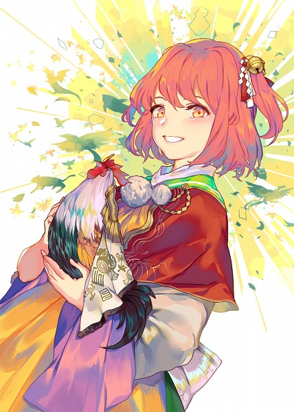Tags: Anime, Yu (maiwetea), Touhou, Motoori Kosuzu, Chicken, Fanart, Fanart From Pixiv, Happy 2017, Pixiv, Mobile Wallpaper, Kosuzu Motoori