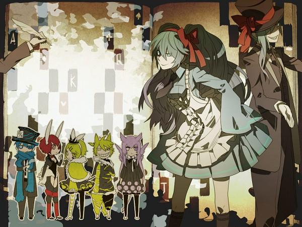 Tags: Anime, Karakuri Shion, Alice in Wonderland, VOCALOID, Hatsune Mikuo, KAITO, White Rabbit, Kagamine Len, Hatsune Miku, Mad Hatter, Kagamine Rin, MEIKO (VOCALOID), Megurine Luka