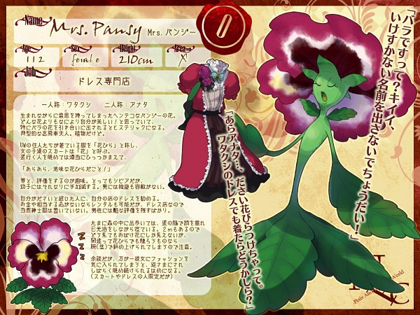 Tags: Anime, Pixiv Id 203656, Pixiv in Wonderland, Mrs. Pansy, Beige Background, Pansy, Pixiv, Translation Request, Original, Pixiv Alice in Under World, Character Sheet