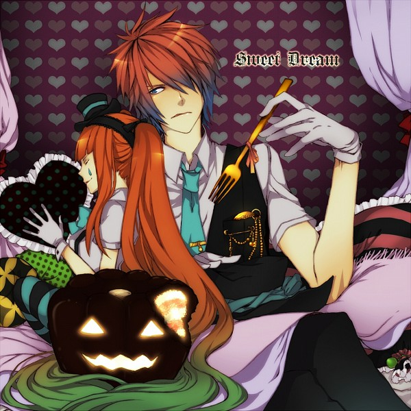 Tags: Anime, Meri-h-shino, VOCALOID, Hatsune Miku, KAITO, Mrs. Pumpkin no Kokkei na Yume, Pixiv, Mrs. Pumpkin's Comical Dream