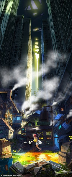 Tags: Anime, Mugon, Watering Can, Skyscraper, Pixiv, Original