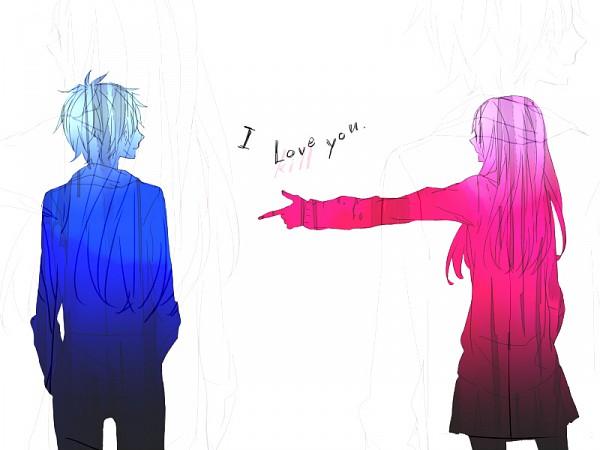 Tags: Anime, Mukaiyama, Confession, Text: I Love You, Pixiv, Original