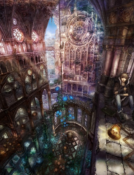 Tags: Anime, Munashichi, Detailed, Chandelier, Church, Stained Glass, Morning Glory, Pixiv, Original