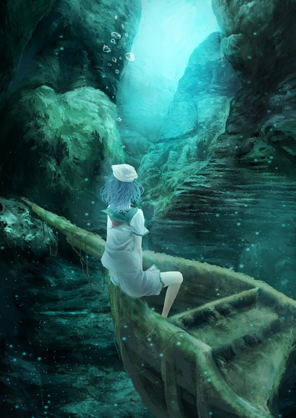 Tags: Anime, Akaikitsune, Touhou, Murasa Minamitsu, Boat, Destruction, Mobile Wallpaper, Pixiv, PNG Conversion, Fanart, Minamitsu Murasa
