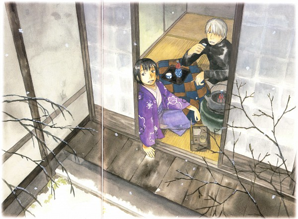 Tags: Anime, Urushibara Yuki, Mushishi, Ginko (Mushishi), Karibusa Tanyuu, Porch, Shouji, Official Art, Scan