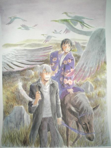 Tags: Anime, Urushibara Yuki, Mushishi, Karibusa Tanyuu, Ginko (Mushishi), Crane, Horseback Riding, Official Art, Scan