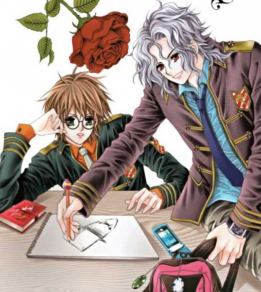 Tags: Anime, Han Yu Rang, My Boyfriend Is A Vampire, School Desk, Drawing (Object), Manga Cover, Scan, Official Art