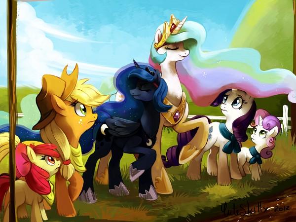 Tags: Anime, Cuteskitty, My Little Pony, Rarity, Applejack, Princess Luna, Sweetie Belle, Princess Celestia, Apple Bloom, Cutie Mark, Alicorn, Fanart From DeviantART, deviantART