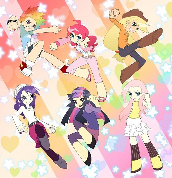 Tags: Anime, Mirakurunaito, My Little Pony, Fluttershy, Twilight Sparkle, Rarity, Rainbow Dash, Pinkie Pie, Applejack, Capri Pants, Cowboy, Panty and Stocking with Garterbelt (Parody), Western