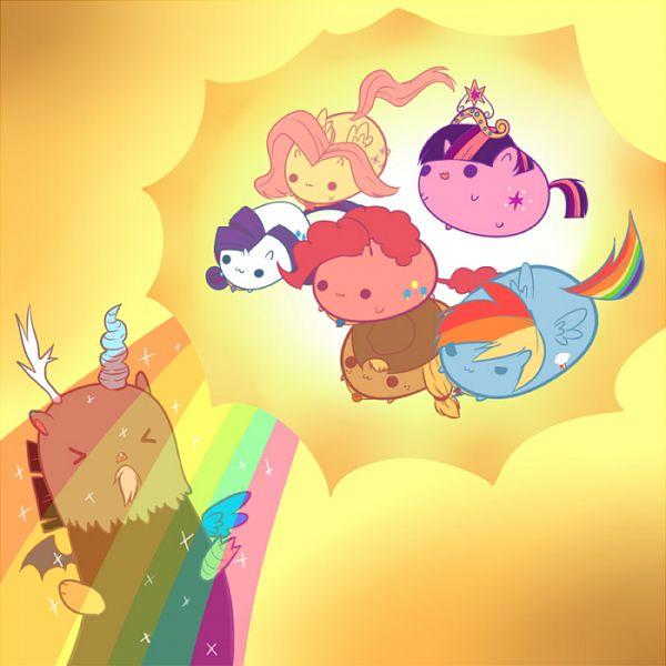 Tags: Anime, Raiponi, My Little Pony, Rarity, Rainbow Dash, Discord, Pinkie Pie, Applejack, Fluttershy, Twilight Sparkle, Pony, Pegasus, PNG Conversion