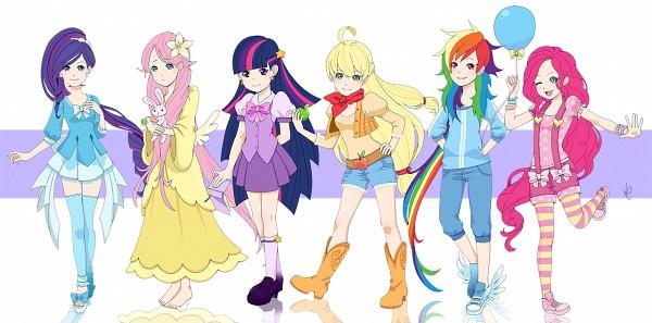 Tags: Anime, Lilacinum, My Little Pony, Twilight Sparkle, Rarity, Rainbow Dash, Angel (My Little Pony), Pinkie Pie, Applejack, Fluttershy, Western, Cowboy, Fanart