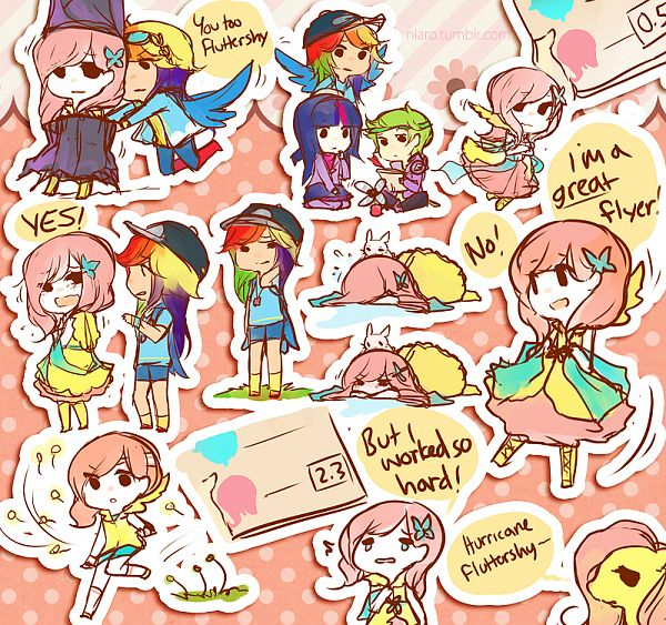 Tags: Anime, Niaro, My Little Pony, Fluttershy, Rainbow Dash, Twilight Sparkle, Spike, Angel (My Little Pony), Pony, deviantART, Fanart From DeviantART, Sticker (Source), PNG Conversion
