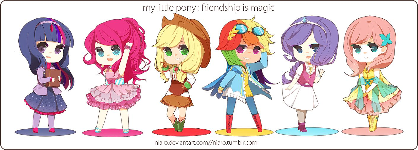 Tags: Anime, Niaro, My Little Pony, Applejack, Fluttershy, Twilight Sparkle, Rarity, Rainbow Dash, Pinkie Pie, Brown Hat, Tumblr, Fanart From DeviantART, deviantART