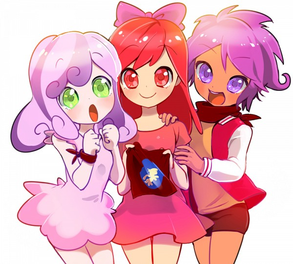 Tags: Anime, Quizia, My Little Pony, My Little Pony: Equestria Girls, Scootaloo, Sweetie Belle, Apple Bloom, Brown Neckwear, PNG Conversion, Pixiv, Fanart From Pixiv, Fanart, Cutie Mark Crusader