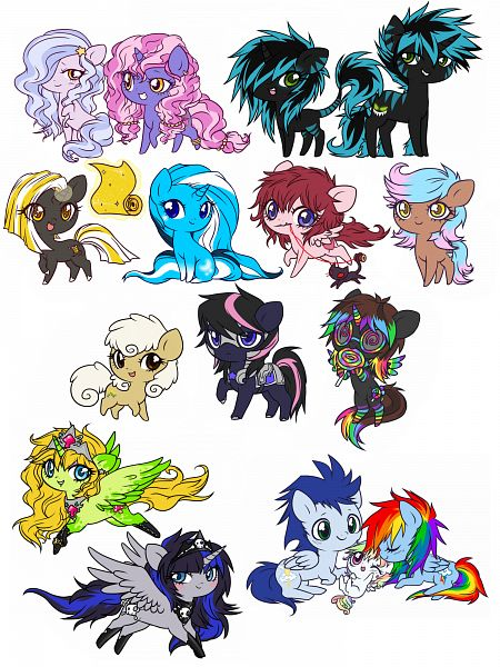 Tags: Anime, Ponymonster, My Little Pony, Fan Character, Winter's Kiss, Rambow, Glasgow Smile, Darkly Cute, Soarin', Goldistalks, Rainbow Dash, Cheshire Grin, White Whirl