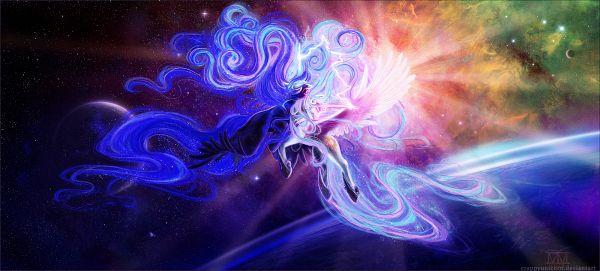 Tags: Anime, Crappyunicorn, My Little Pony, Princess Luna, Princess Celestia, Nightmare Moon, Cutie Mark, Galaxy, Alicorn, Pegasus, Fanart From DeviantART, deviantART, Fanart