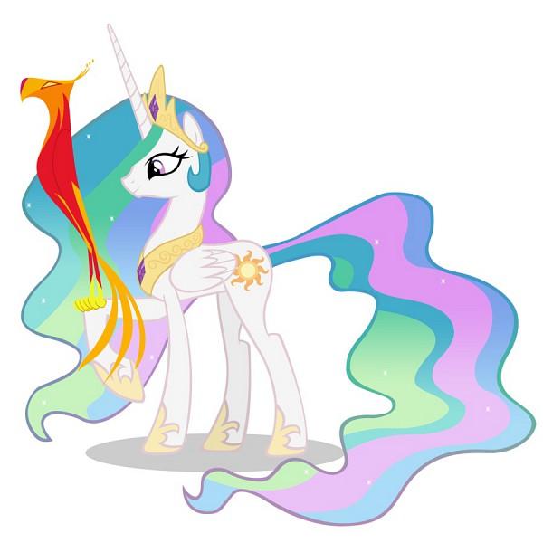Tags: Anime, My Little Pony, Princess Celestia, Philomena, Alicorn, Pegasus, Phoenix, Cutie Mark, Official Art