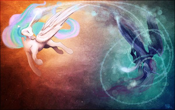 Tags: Anime, Crappyunicorn, My Little Pony, Princess Celestia, Princess Luna, Alicorn, Pegasus, deviantART, Fanart From DeviantART, Fanart