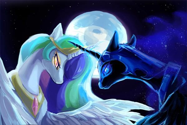 Tags: Anime, Maocha, My Little Pony, Princess Celestia, Nightmare Moon, Princess Luna, Alicorn, Pegasus, Fanart From DeviantART, deviantART, Fanart