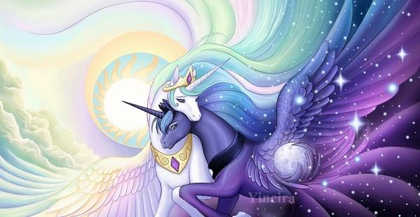 Tags: Anime, Yiuokami, My Little Pony, Princess Luna, Princess Celestia, Pegasus, Alicorn, deviantART, Fanart From DeviantART, Fanart