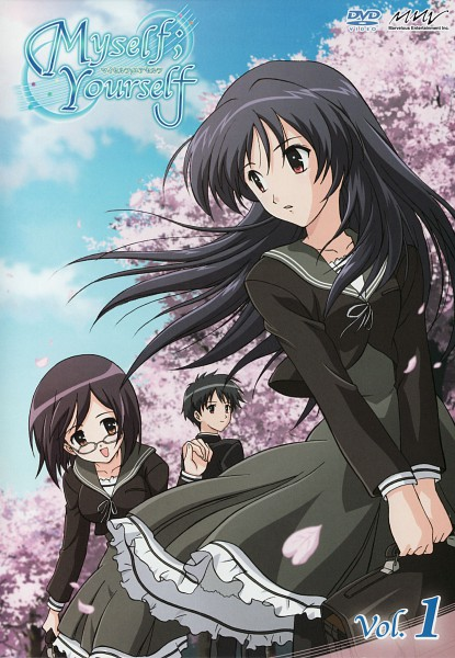 Tags: Anime, Myself; Yourself, Yatsushiro Nanaka, Hidaka Sana, Oribe Aoi, Official Art, Scan, DVD (Source)