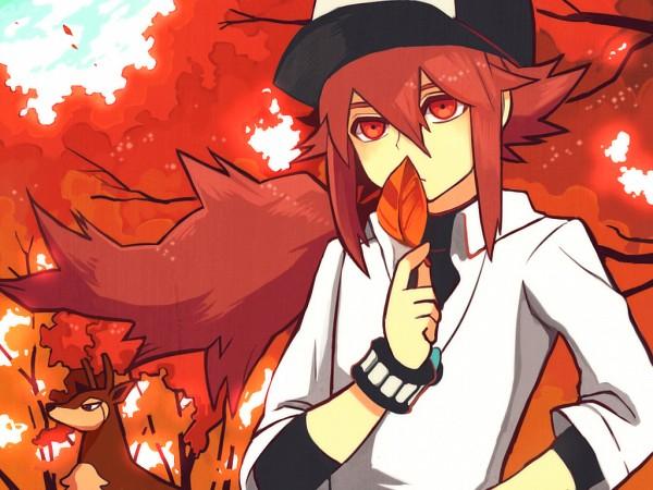 Tags: Anime, Roku Roku (Greentea66), Pokémon, N (Pokémon), Sawsbuck, Deer, Aki Design, Pixiv, Fanart From Pixiv, Fanart