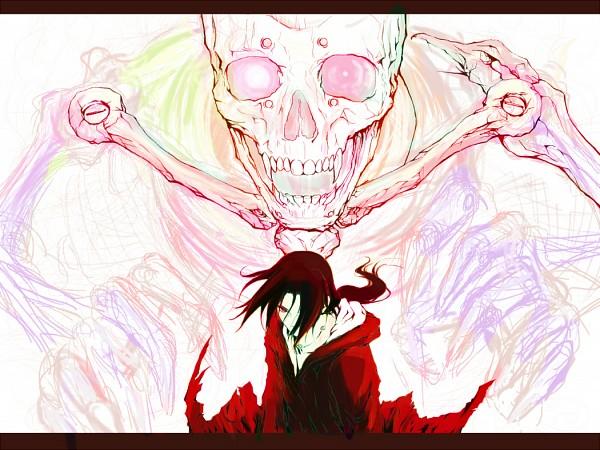 Tags: Anime, Pixiv Id 2454464, NARUTO, Uchiha Itachi, Susano'o (NARUTO), Red Coat, Sketch, Wallpaper, Fanart, Pixiv