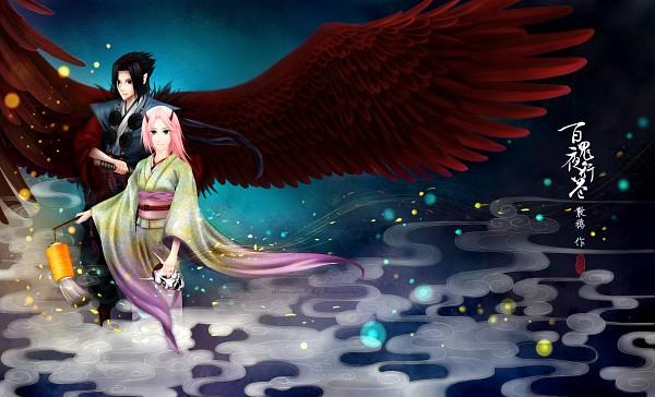 Tags: Anime, Humonster, NARUTO, Uchiha Sasuke, Haruno Sakura, Paper Lantern, Fanart From Pixiv, Fanart, Pixiv