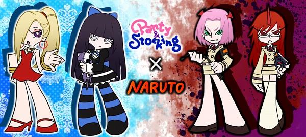 Tags: Anime, Pixiv Id 4368774, NARUTO, Hyuuga Hinata, Haruno Sakura, Karin (NARUTO), Yamanaka Ino, Anarchy Stocking (Cosplay), Scanty (Cosplay), Anarchy Panty (Cosplay), Kneesocks (PSG) (Cosplay), Panty and Stocking with Garterbelt (Parody), Fanart From Pixiv