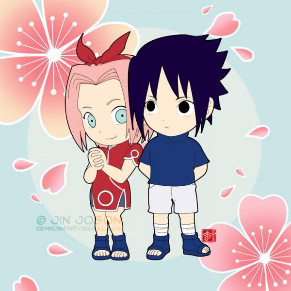 Tags: Anime, NARUTO, Uchiha Sasuke, Haruno Sakura, Spring, Fanart