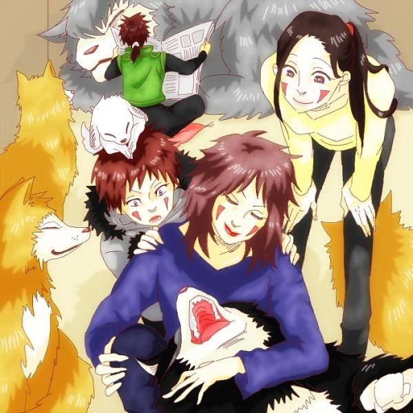 Tags: Anime, Pixiv Id 4585496, NARUTO, Inuzuka Hana, Kuromaru (Naruto), Inuzuka Kiba, Haimaru Brothers, Akamaru (NARUTO), Inuzuka Tsume
